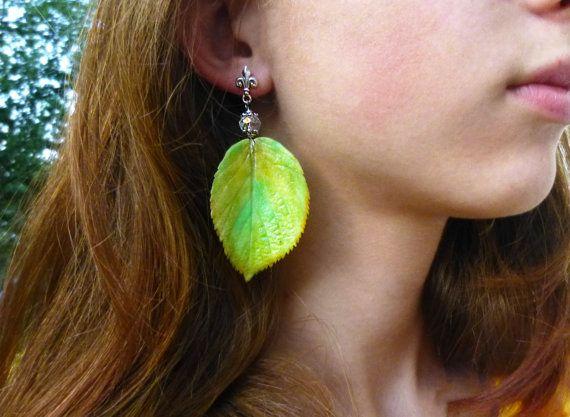 Yellow green earrings autumn jewelry autumn by jewelryNatalie