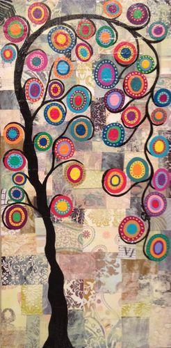 Original Mexican Folk Art Painting Festive Quilt Tree of Life Kerri Ambrosino | eBay
