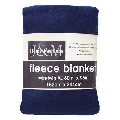 J&M Home Fashions Polar Fleece Blanket Size: Twin/Twin XL, Color: Dark Blue