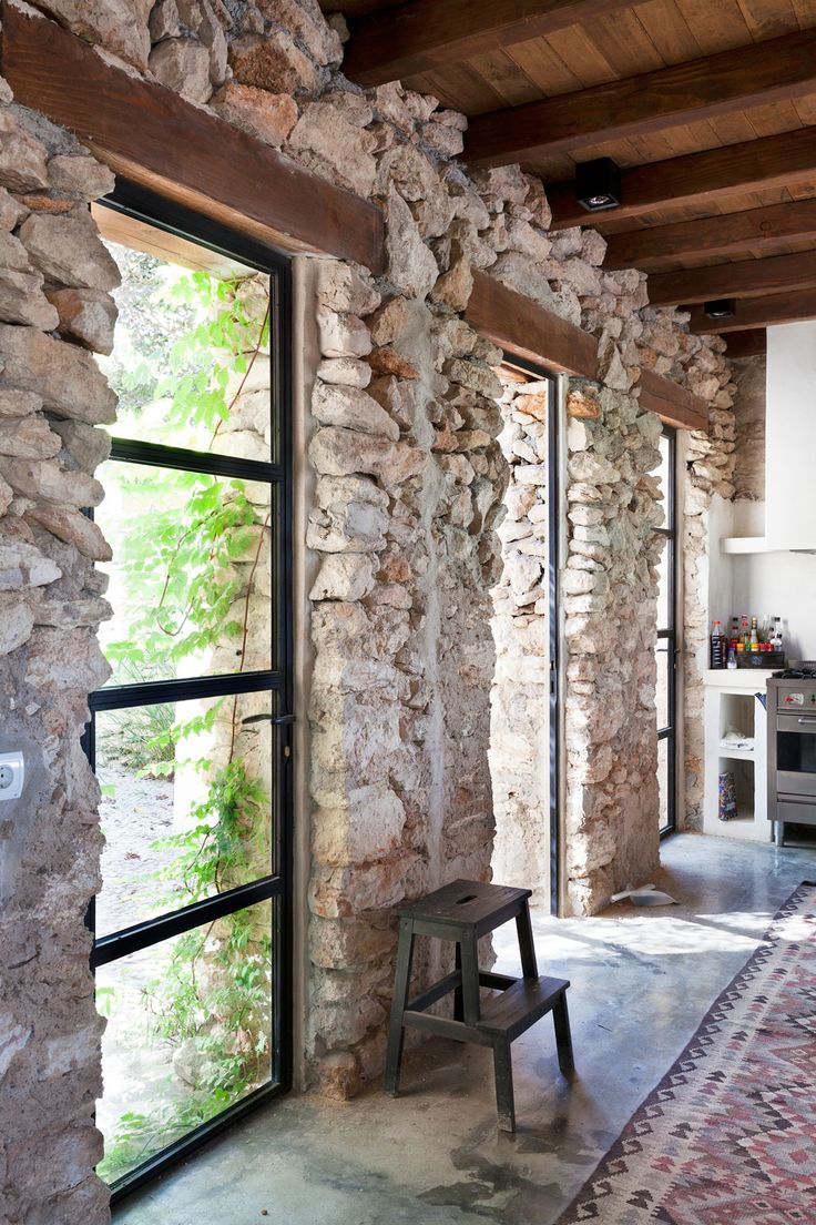 Stone walls, steel windows.Spaces, Architecture Interiors, Interiors Design, Dreams House, Architecture Inspiration, House, Stones House, Exposed Stones, En Ibiza