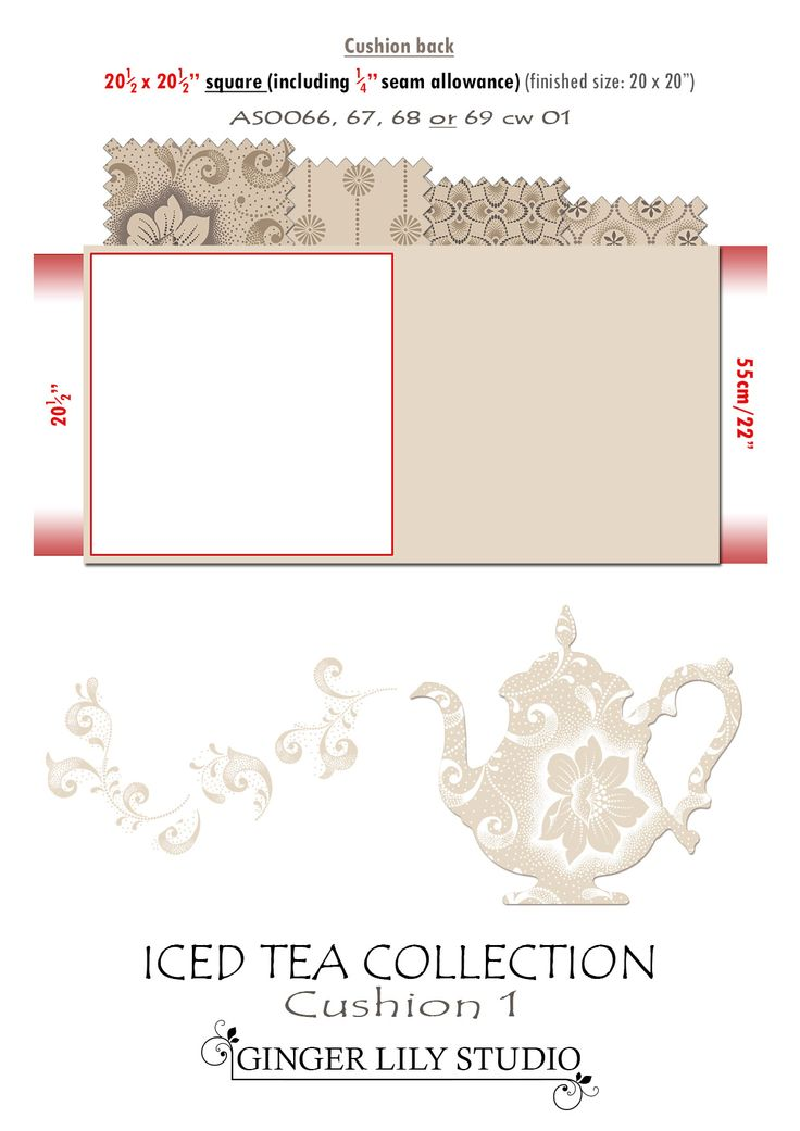 6b Iced Tea Collection Cushion cutting layout 1