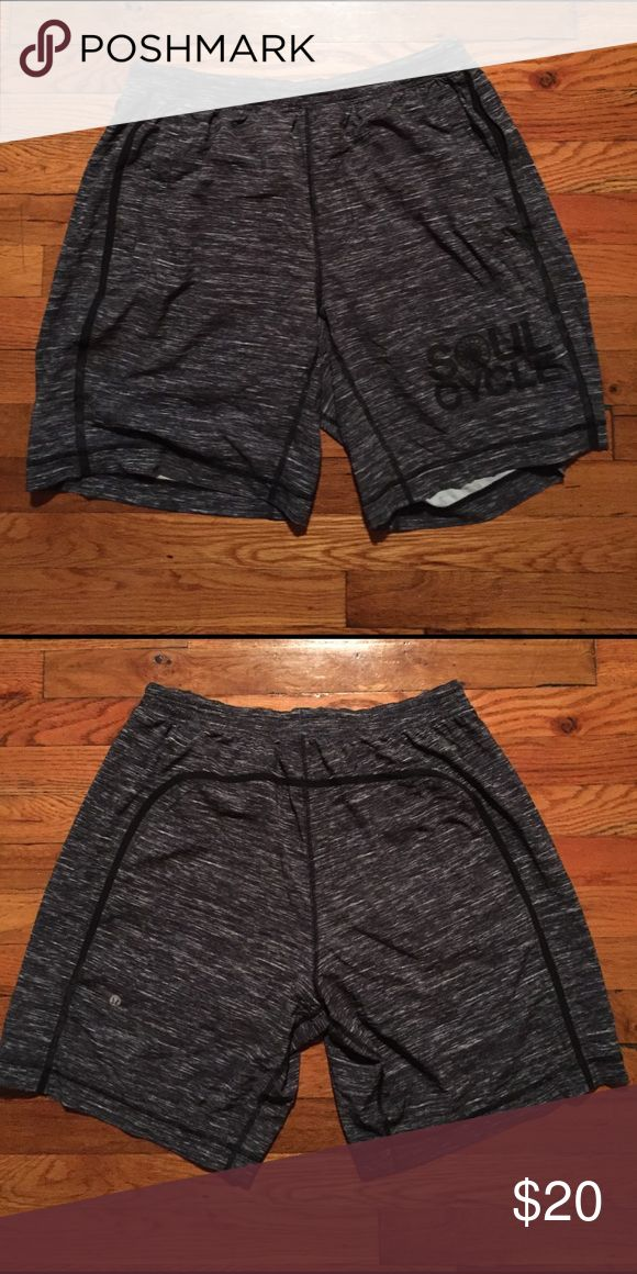 Men's Lululemon Soul Cycle Shorts with Liner. Men's large Lululemon Athletica shorts with liner. Amazing condition. lululemon athletica Shorts Athletic
