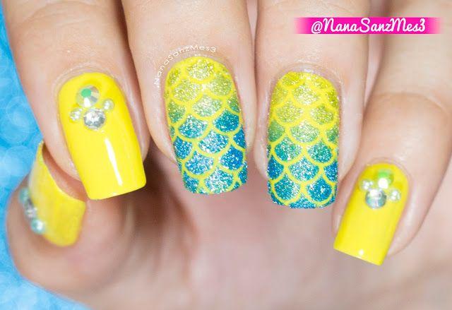 Mermaid Gradient nail art