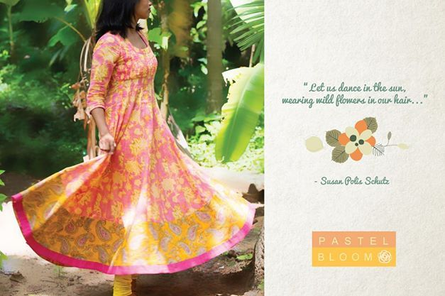 Pastel Bloom - Floral print anarkalis in delicate airy mul mul. Making sure spring is around you all year round.. Shop for this collection at http://www.shalinijamesmantra.com/pastel-bloom.html