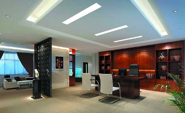 Interior Design Office with leather chair and wooden cabinet for manager room