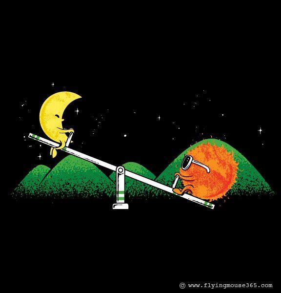moon and sun | Cute illustration