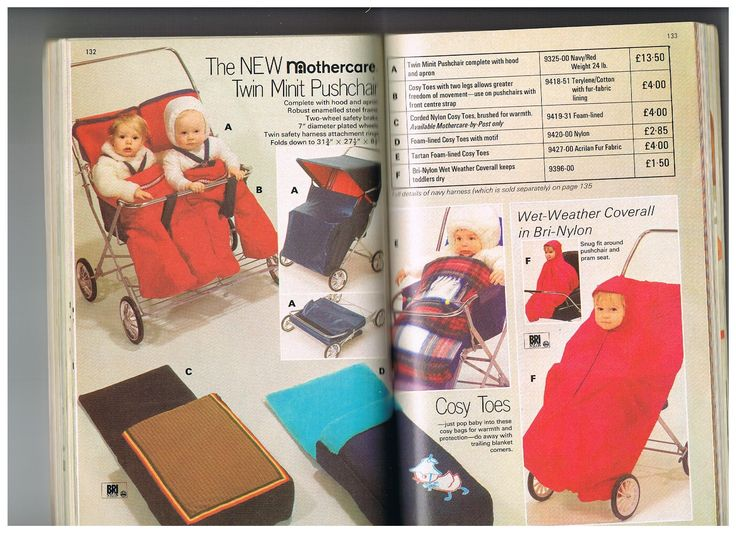 Vintage prams and twin strollers and cosytoes from the 1972 Mothercare catalogue.