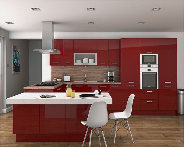 An Altino Red High Gloss Kitchen Design Idea - http://www.diy-kitchens.com/kitchens/altino-red/details/