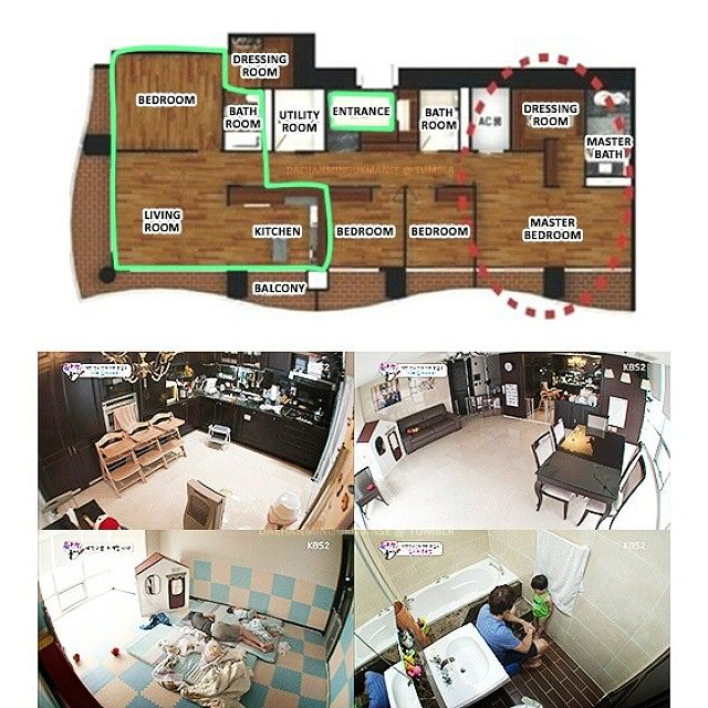 Instagram media by song.triplets - Here's the floor plan to Song Il Kook and the cutie triplets' apartment, which is located in Song Do, Incheon. The apartment was decorated with marble floor and designed by Song Il Kook himself. Only the green zone or less than half of the unit is shown on the show.