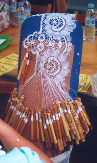 Lace/lacemaking. There used to be ladies that showed how this was done at the MN State Fair. Times have changed…