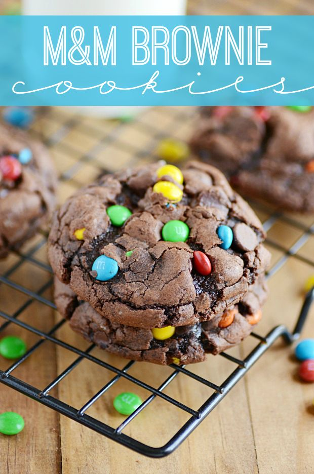 M&M Brownie Cookies!  Gooey chocolate insides and crackly tops make these brownie mix cookies the ultimate marriage of brownies and cookies. And SO easy!