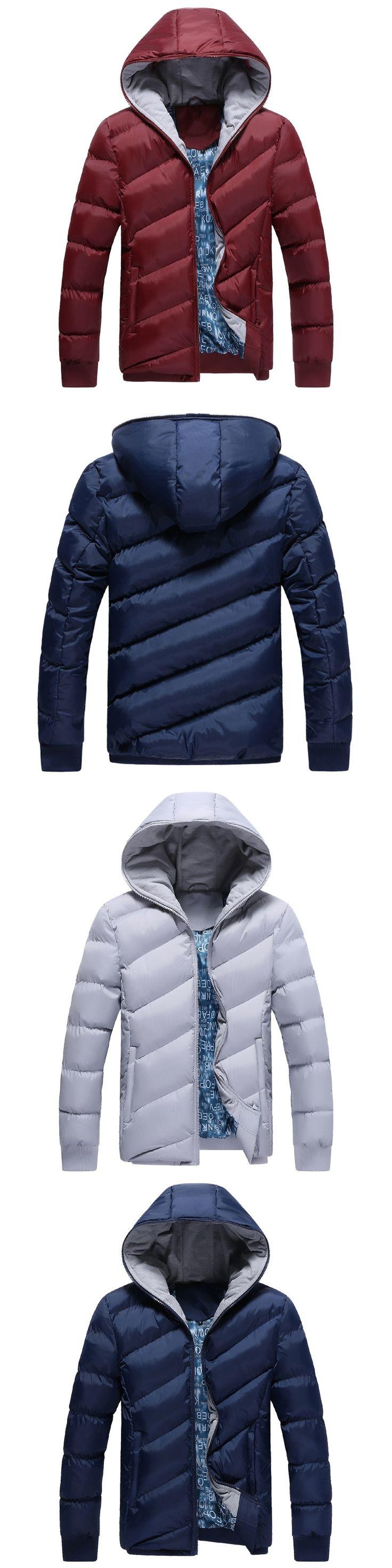 Uwback 2017 Winter Men Down Jackets Hooded Casual Coats Homme Black Navy Warm Parkas Hombre Thick Padded Cotton Coats 4XL  XA120