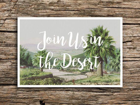 Palm Desert Postcard Save the Dates // Palm Springs Wedding Trees Desert California Postcards Vintage Bohemian Modern Join Us in the Desert
