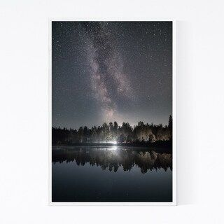 Noir Gallery Milky Way Night Sky Lake Finland Framed Art Print (24 x 36 – Black)