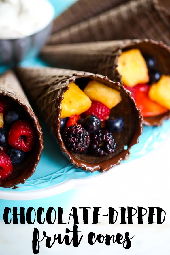 Chocolate-Dipped Chocolate Waffle Cones, filled with fresh fruit and creamy-dreamy topping.  So perfect for a party!