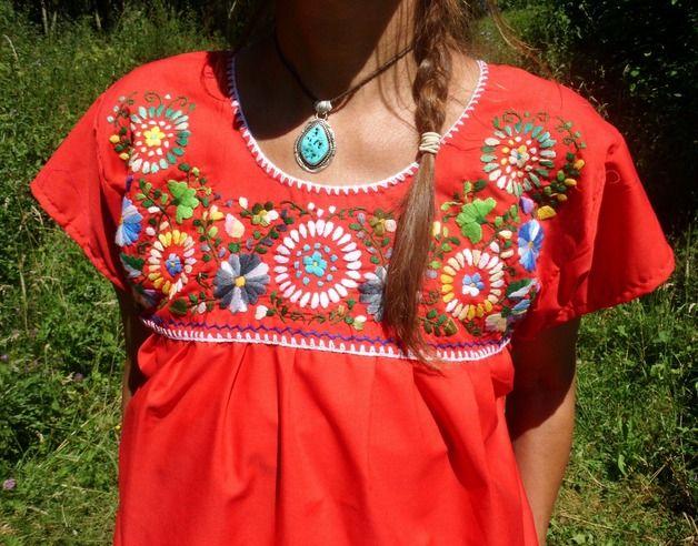 Blusas manga corta - S etno blusa bordado mexicano FRIDA KAHLO ...