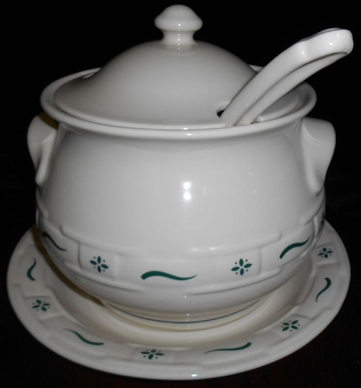 Longaberger 4 pc SOUP TUREEN W/UNDERPLATE/LADLE/LID Woven Traditions - Green