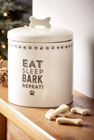 Eat, Sleep, Bark, Repeat! This stylish Dog Treat Jar from Next is the perfect place to store all your dogs goodies!