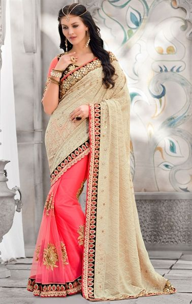 Tantalizing Pink and Cream Wedding Saree