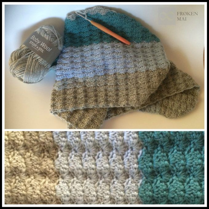 "Babytæppe med ""muslinger"" - Baby blanket with shell-stitch"