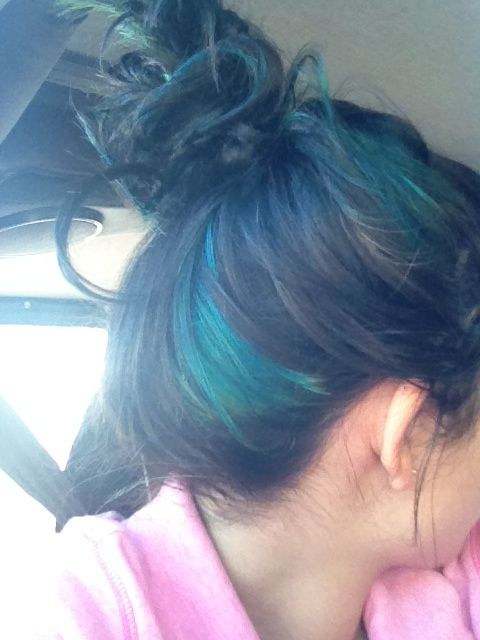 aqua blue highlights in black brown hair hair dye ideas