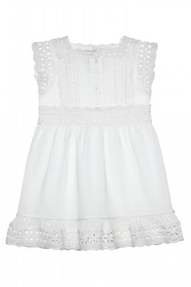 Enfant Cotton Eyelet Embroidered Cap Sleeve Dress