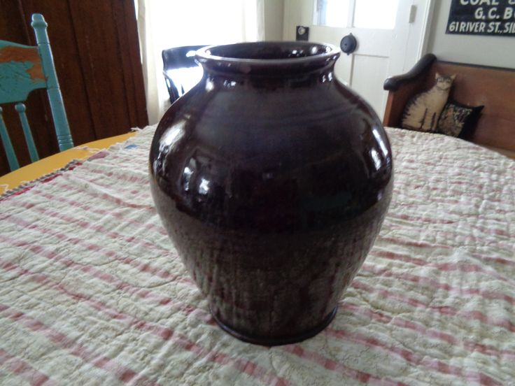 Antique American Redware Pottery, Ovoid Shape Glazed Storage Jar by FairchildsInc on Etsy