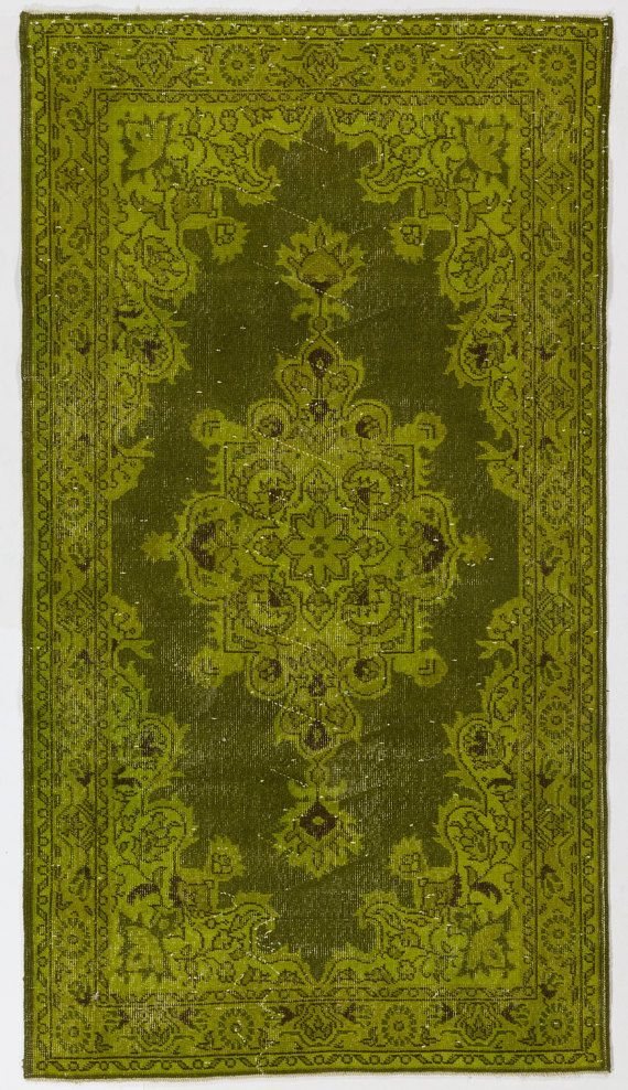 3'10 x 6'11 117 x 213 cm Turkish Overdyed Rug Olive by Zorlus