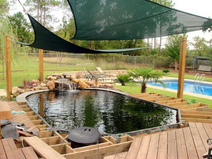 69 best images about swimmteich on pinterest swim for Koi pond deck