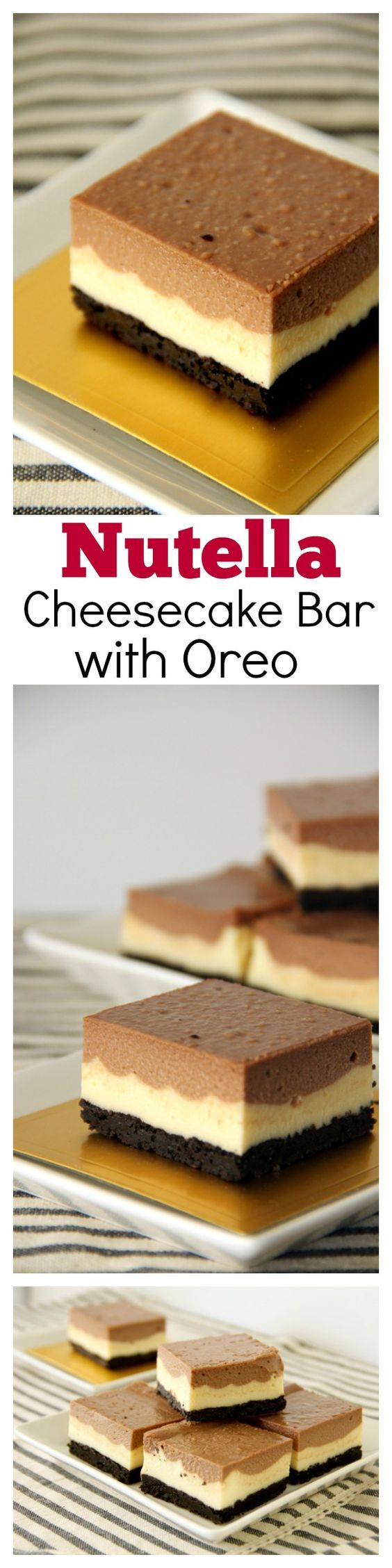 Nutella Cheesecake Bar with Oreo Base. To-die-for and the most AMAZING…