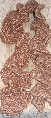 Noodle Scarf Pattern: Size 10 needles Cast on 20 Knit 20, turn Knit 8, turn Knit 8, turn Knit 6, turn Knit 6, turn Knit 4, turn Knit 4, turn Knit 20 across Repeat until desired length Bind off