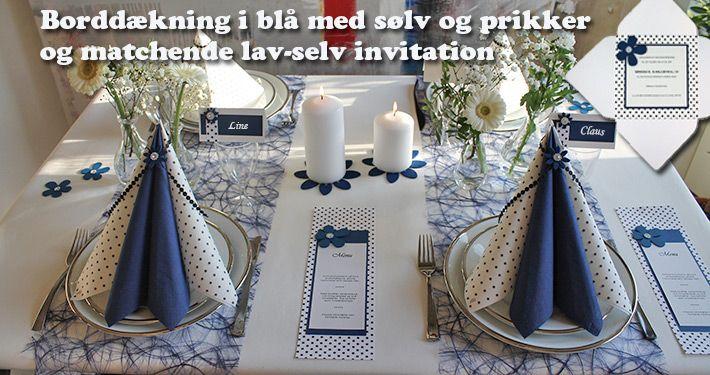 borddækning i blå til pige konfirmation