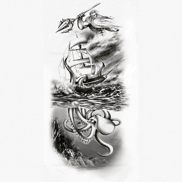 Poseidon watching a kraken take down a ship tattoo design #tattoo #tattoodesign #SquareInstaPic ...