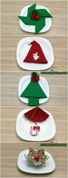 How to Fold These 5 Easy and Decorative Christmas Napkins #Christmas #napkins #napkinfolding #diy #chrsitmasdecor via @vanessacrafting
