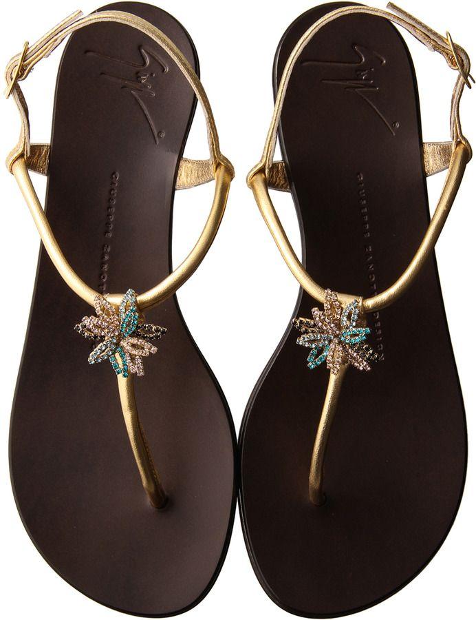 Giuseppe Zanotti ジュゼッペ・ザノッティ・デザイン ビジュー付きトングフラットサンダル / Bijou Sandals on ShopStyle