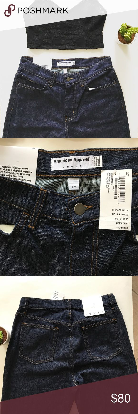 American Apparel Straight Leg Jean NWT RARE Original American Apparel Straight Leg Jean. Size 27. Classic Indigo Rinse. Rsadm3363. These iconic jeans are a staple piece & so versatile! Pair with lace for a flirty look. I like wearing these with strappy heels or ankle booties. Brand new with tags. American Apparel has shut down and these are rare! Open to offers. Bundle & save. I aim to ship the same day. American Apparel Jeans Straight Leg