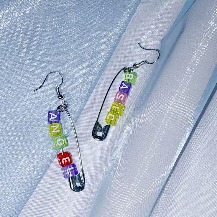 customisable aesthetic letter beads earrings in 2020 ...