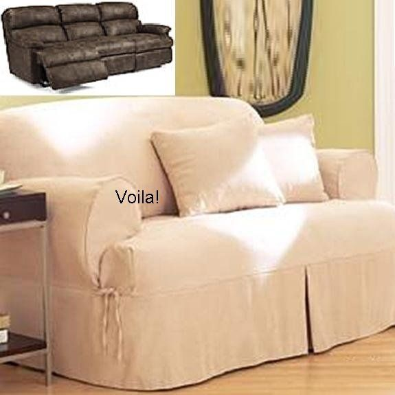 Nice Reclining SOFA T Cushion Slipcover Ivory Heavy Suede Adapted For Dual  Recliner Couch