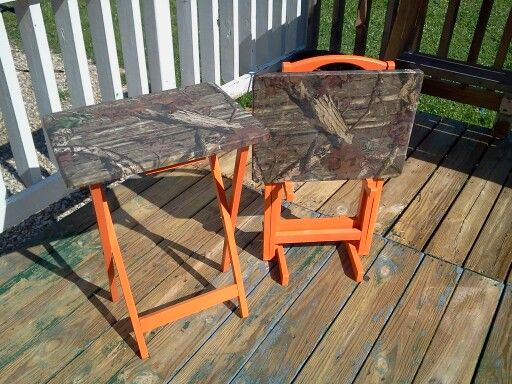 Mossy Oak folding tables - Mod Podge fabric spray paint