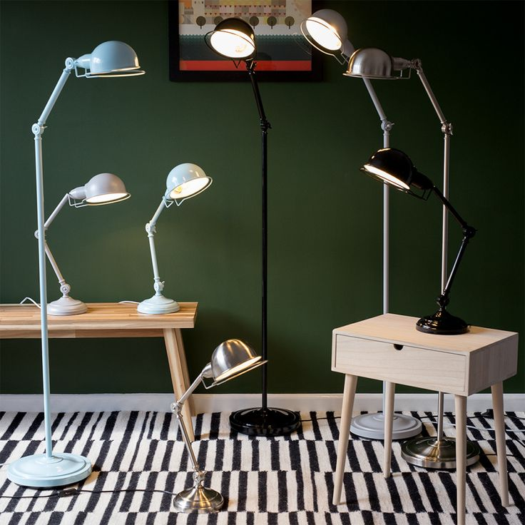 Iconic 'Forton' Swing Arm Adjustable Floor Lamp, Satin Nickel