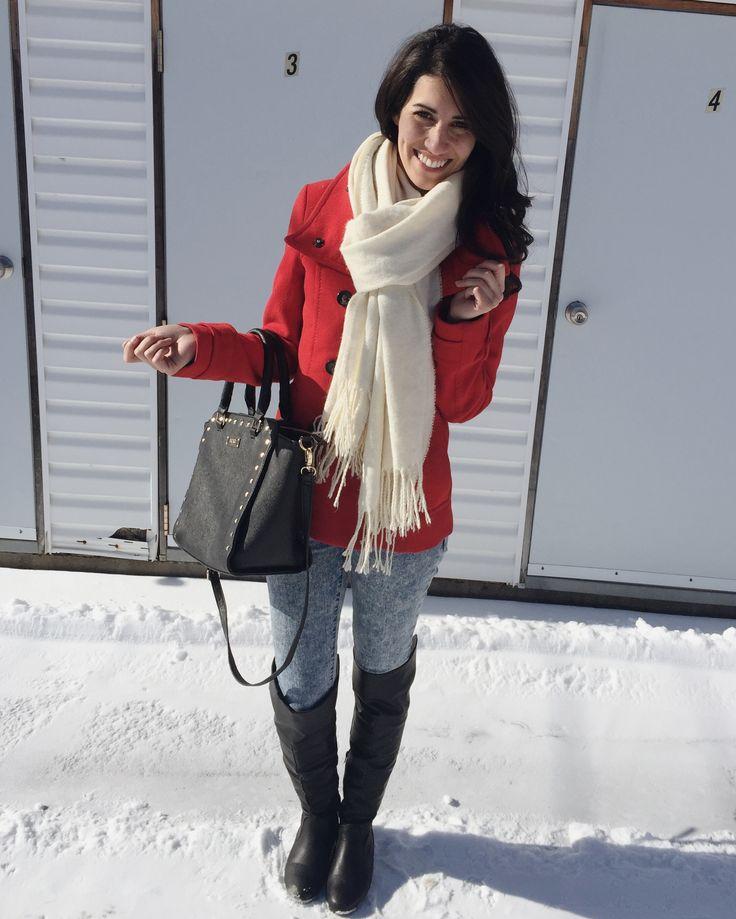 #winter #ootd #lookdujour #coat #red #jacket #jeans #bcbg #boots #scarf #beige #white