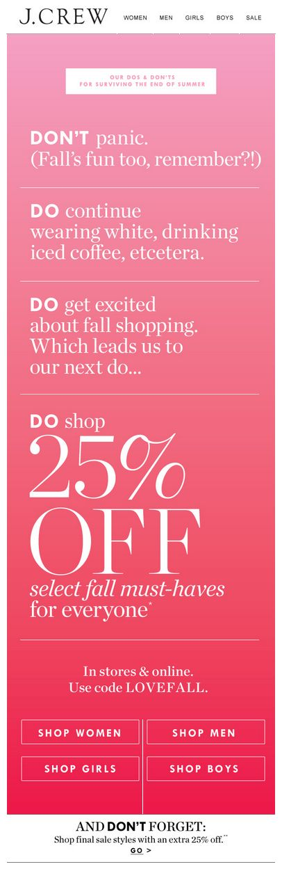JCREW end of summer sale email. Subject line: It's the end of you-know-what. Here's how to cope...