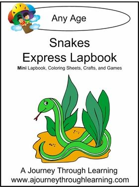 "This Snakes lapbook is an ""Express Lapbook,"" which means it is ONE FOLDER and can be done is one to two days. Not only do you get the lapbook templates, we also include extras- clickable website links, study guides, coloring pages, craft ideas, and games! Requires 1 folder. 30 pages. #homeschool #lapbooks"