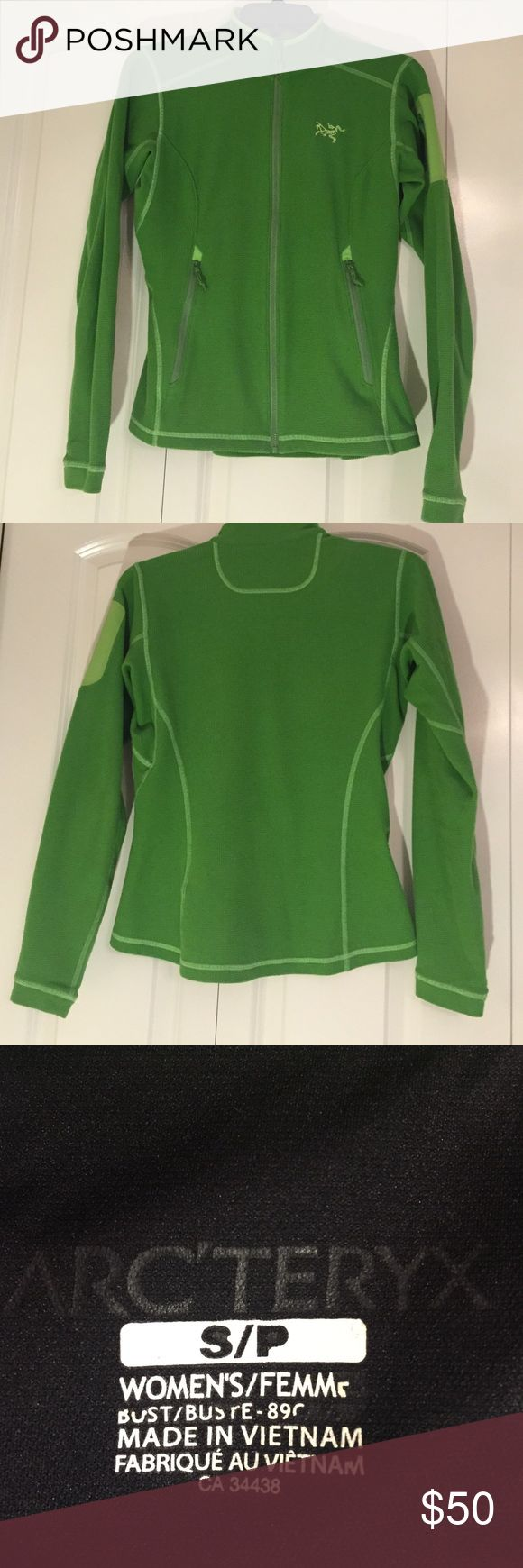 Arcteryx women's S lightweight zip up fleece Lime green EUC good as a layering piece. Pocket on arm and two side pockets all zip. Super soft waffle design. Arc'teryx Jackets & Coats