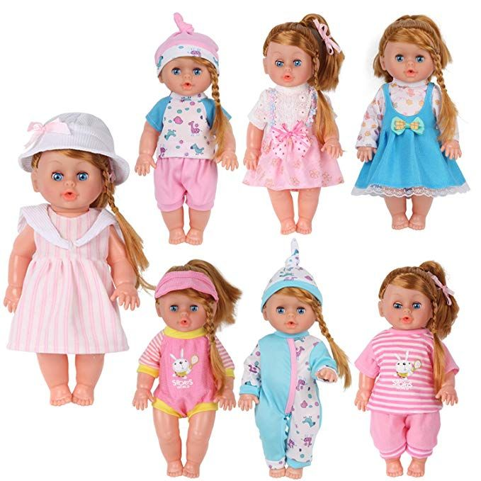 Pack Of 7 For 11 12 13 Inch Alive American Doll Baby Doll Clothes Dress Costumes Gown Outfits Princess Birthday Xmas Present Wrap For Girls Baby Doll Clothes Doll Clothes Soft Dolls