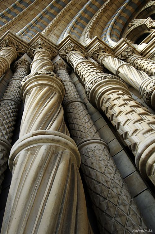 """Façade Pillars"" in the Natural History Museum, London, England."