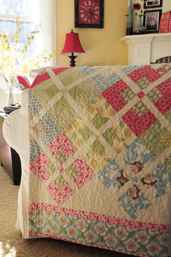 Gypsy Girl quilt from the book Fat Quarter Five-Love these soft colors!