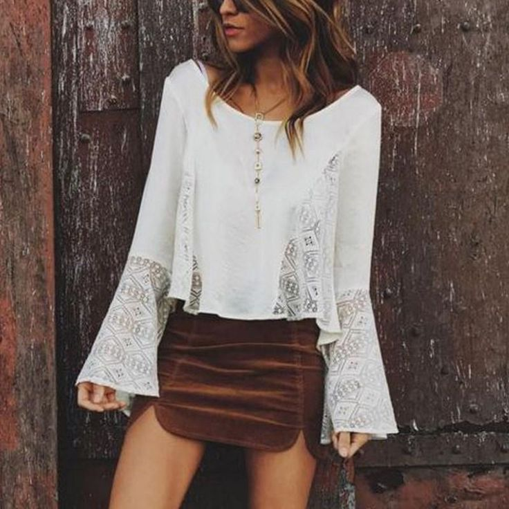 2017 New Boho Chiffon Blouse Women Tops Flare Sleeve Hollow Out Shirt Ladies Office Casual Blouse Fashion Blusas Chemise Femme