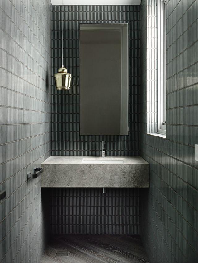 Grey concrete bathroom   Minimalist & Natural   Modern Bathroom Styling Details   Bath Essentials   Contemporary Design   Natural   Add an organic bamboo toothbrush   nakedtoothbrush.com   #inspiration #nakedbath