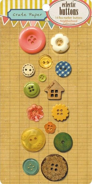 Neighborhood eclectic buttons from Crate Paper.    Package includes 14 flea market buttons.    I sell other coordinating items from the Neighborhood line. Search my shop for neighborhood to see them all or search for crate paper to see all of their adorable items!